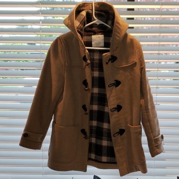 Zara Boys Camel Hooded Wool-blend Pea Coat